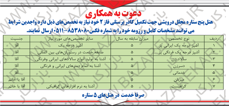 استخدام نیروی انسانی در هتلی در مشهد