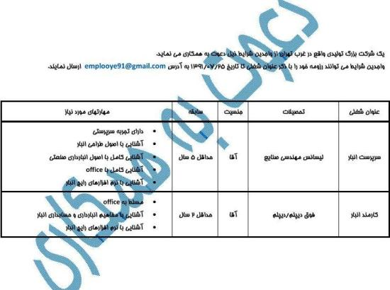 کانال+تلگرام+استخدام+مهندسی+صنایع