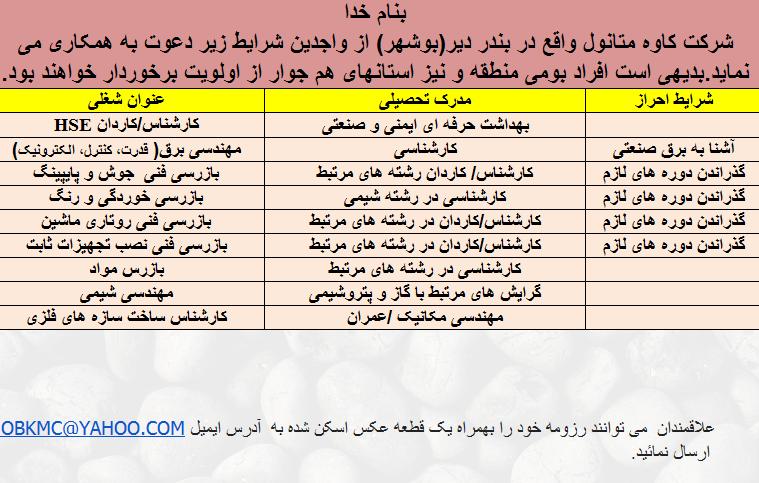 استخدام مهندس کارشناس در بندر دیر بوشهر