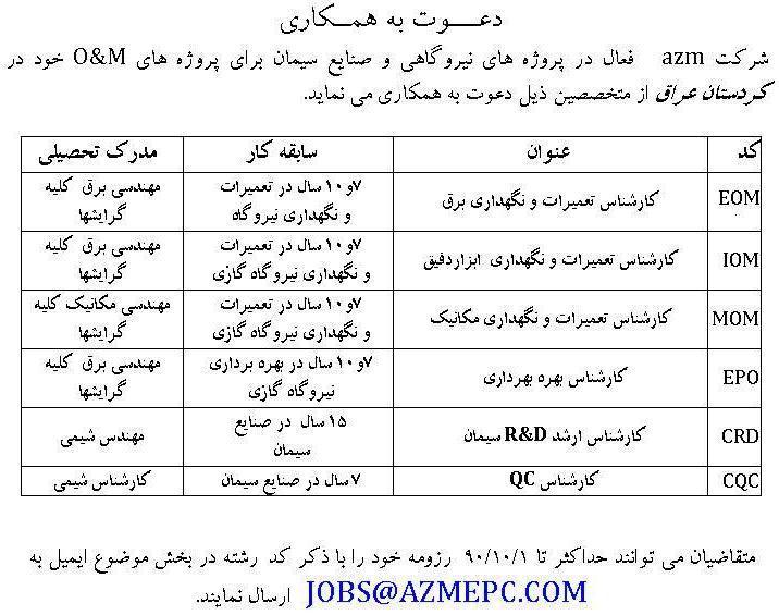 استخدام کارشناس شیمی مکانیک و برق در پروژه های o&m در کردستان عراق