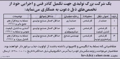 استخدام کارشناس حسابدار، شیمی ، میکروبیولوژی و صنایع در خراسان