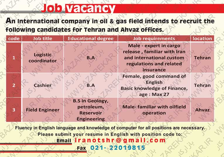 job vacancy Iran