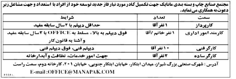 استخدام کارمند اداری در مجتمع صنایع چوب در شیراز