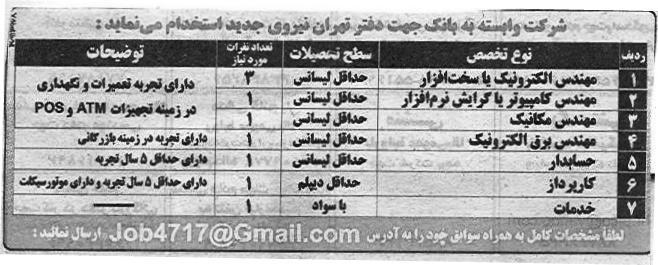 استخدام کارشناس برق و کامپیوتر در شركت وابسته به بانک در تهران