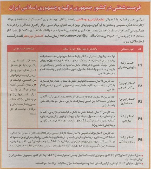 استخدام در کشور جمهوری ترکیه و جمهوری اسلامی ایران