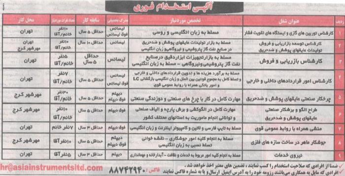 استخدام همه مقاطع تحصیلی در تهران و مهرشهر کرج