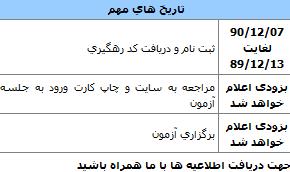 جدول تاریخ های مهم