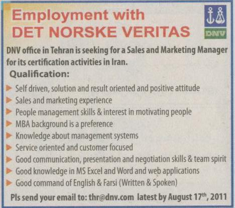 Employment With DET NORSKE VERITAS