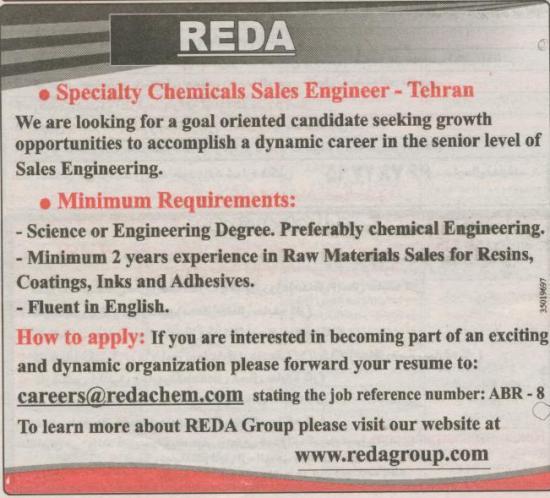 specialty chemicals sales engineer-tehran